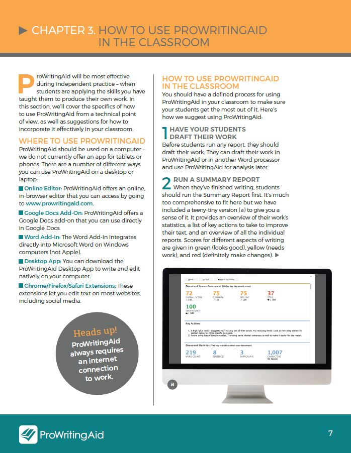 ProWritingAid Teacher's Manual for Edtech development
