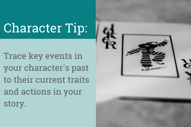 Character tip: Trace key events in your character's past to their current traits and actions in your story.