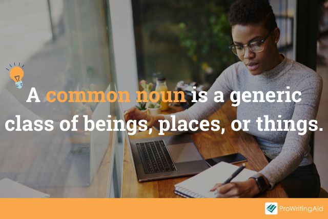 """Image showing definition of common noun with words """"a common noun is a generic class of beings, places, or things"""