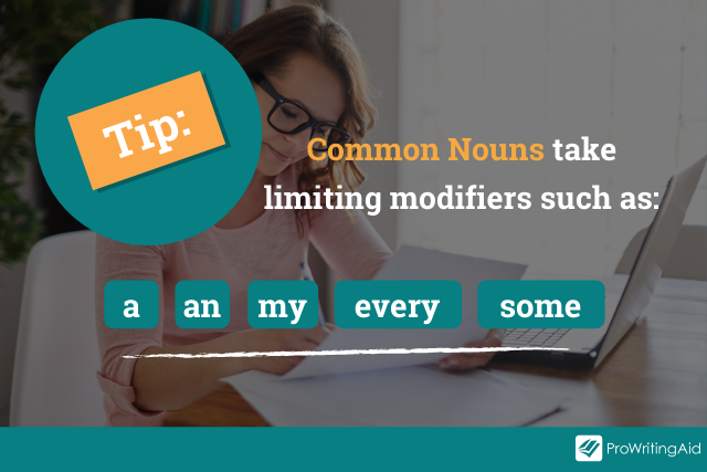 Image showing the limiting modifiers for common nouns