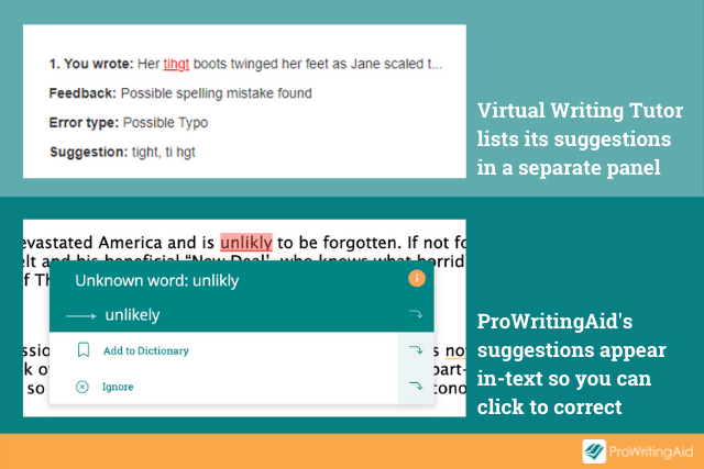 Screenshot comparing ProWritingAid versus Virtual Writing