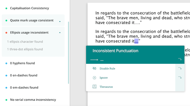consistency report in prowritingaid showing inconsistent ellipses