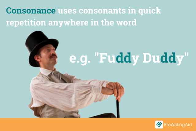 consonance example; fuddy duddy