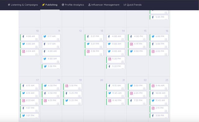 example of a content marketing calendar