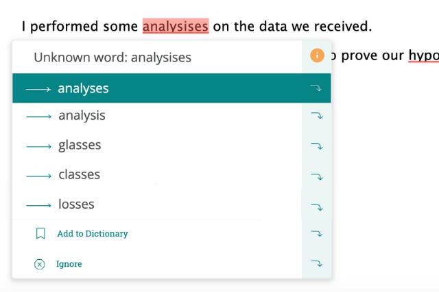 correcting incorrect pluralization of analysis in ProWritingAid