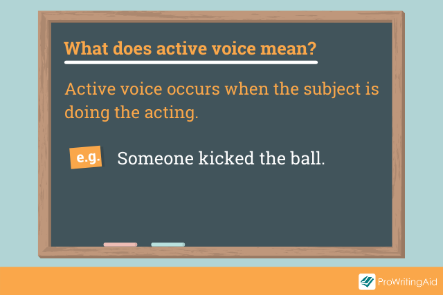 Image showing the definition of active voice