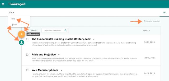 screenshot of prowritingaid documents list