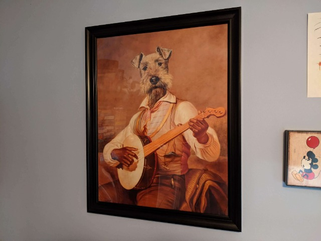 Banjo Player with Dog Head
