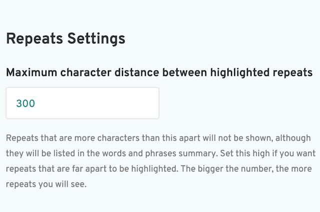 screenshot of prowritingaid repeats settings