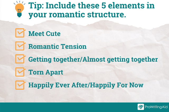 Image showing 5 key elements of a romance structure