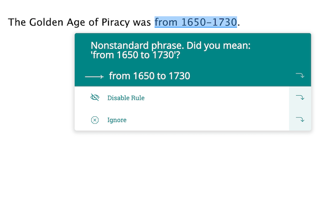 correcting en dash use in the piracy example above