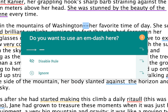 prowritingaid suggests turning two hyphens into an dash