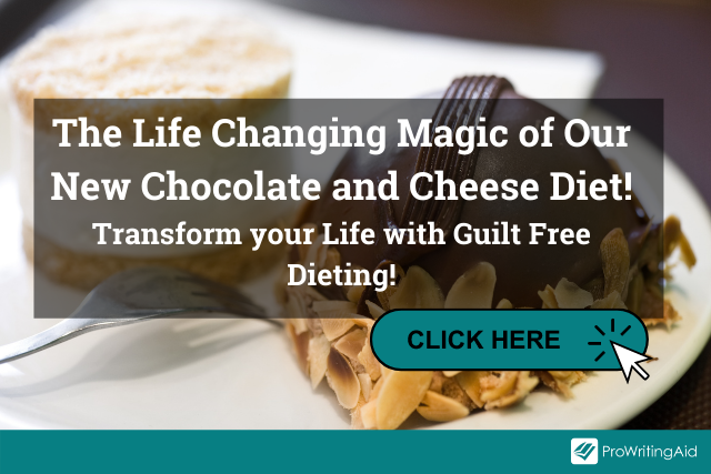 """Image of dessert with the words """"The Life Changing Magic of Our New Chocolate and Cheese Diet! Transform your Life with Guilt Free Dieting!"""""""