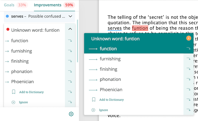 spelling suggestion in prowritingaid