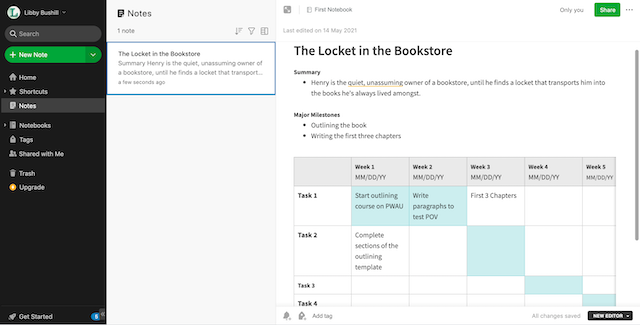 writing plan in evernote