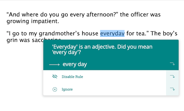 acception suggestion for everyday vs every day in prowritingaid