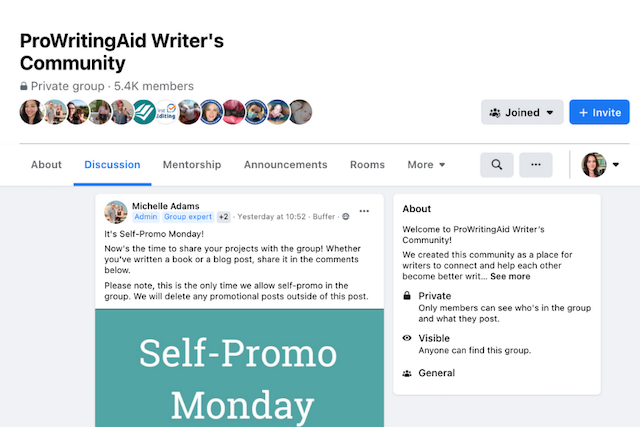 Image showing ProWritingAid's facebook group