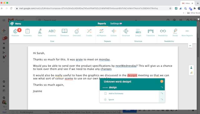 screenshot of prowritingaid editor open in chrome