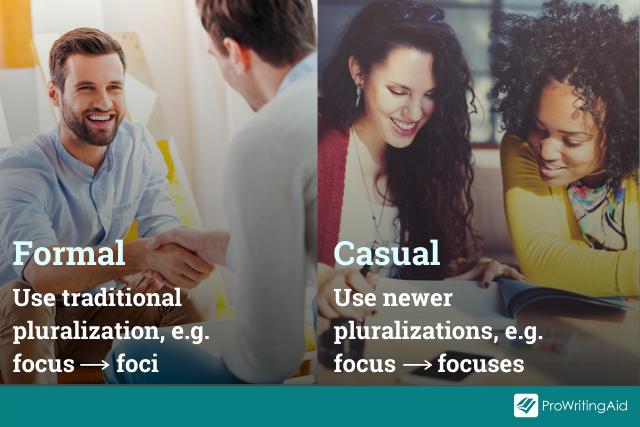formal vs. casual pluralizations