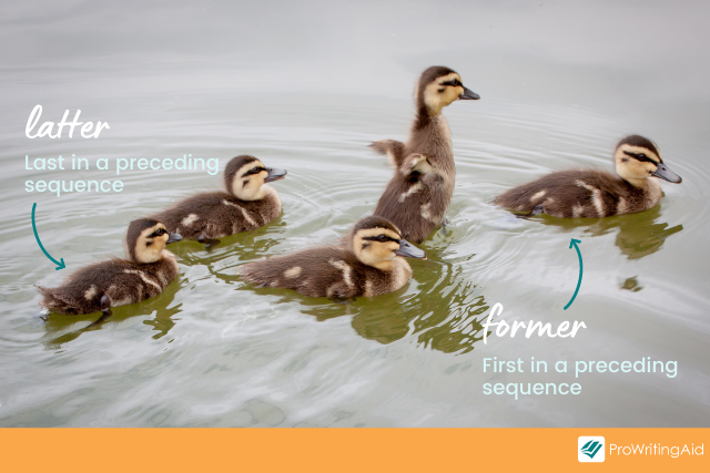 former and latter definitions as above, former points to first duckling in a line and latter to last