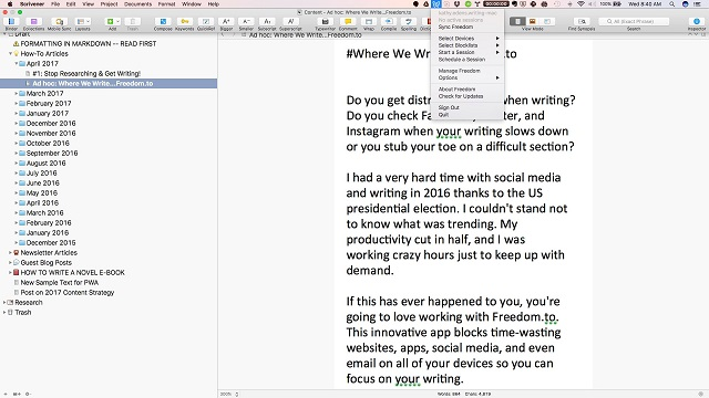 Maintaining Focus While Writing: A Review of the Freedom App