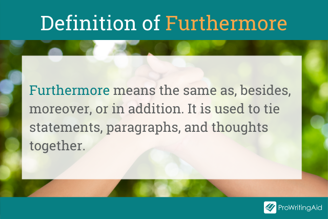 Image showing the definition of furthermore
