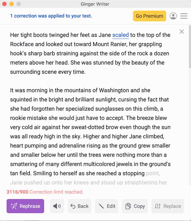 screenshot of highlights in Ginger desktop app: spelling and grammar
