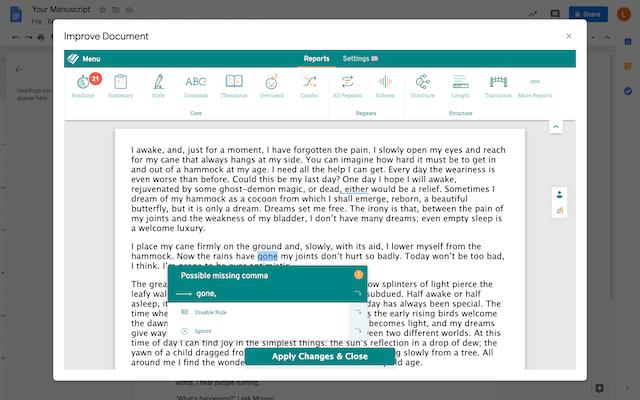 screenshot of prowritingaid editor in Google Docs