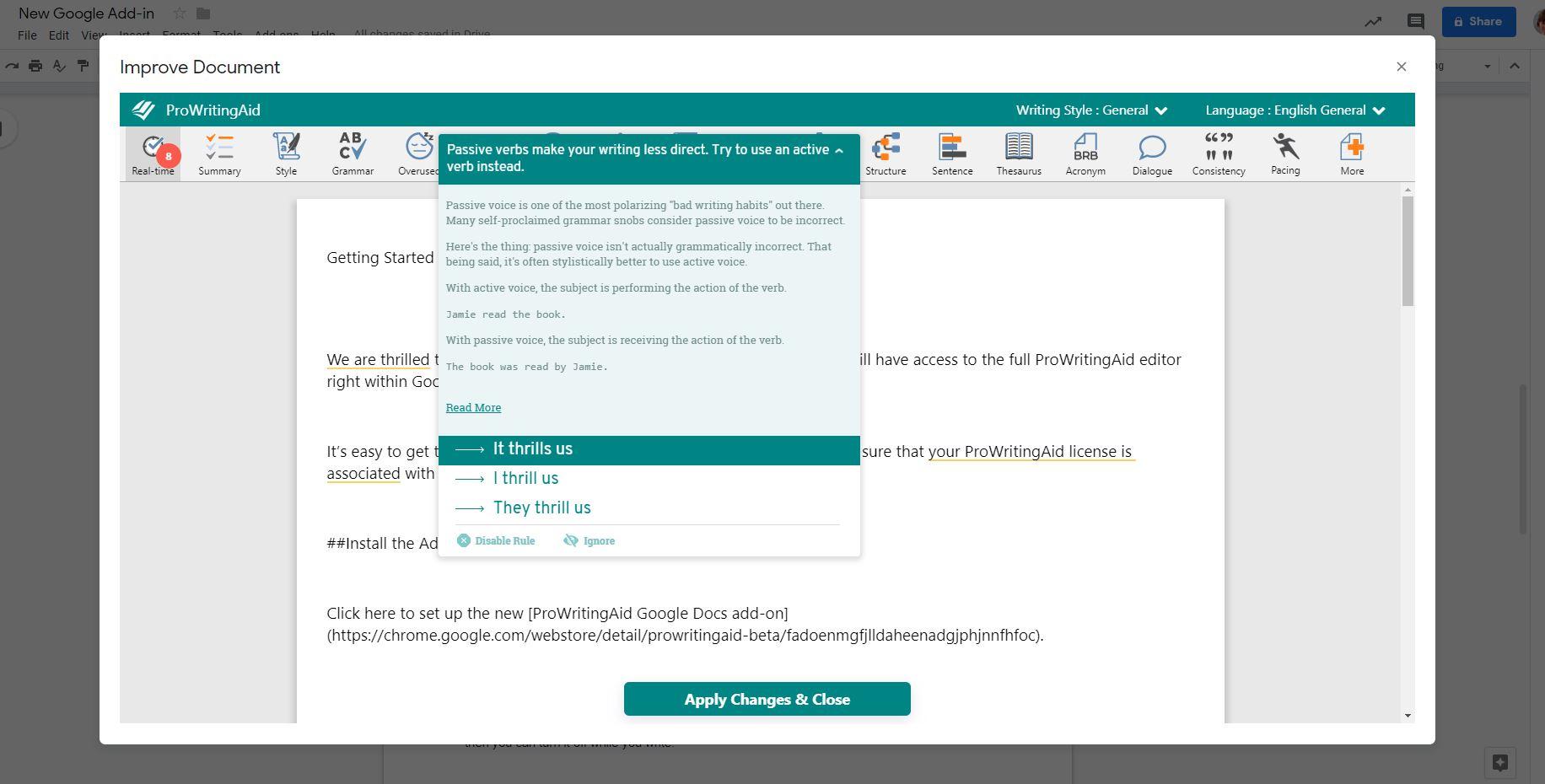 ProWritingAid in GoogleDocs