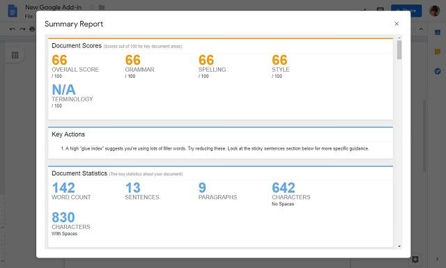 ProWritingAid Summary Report on GoogleDocs
