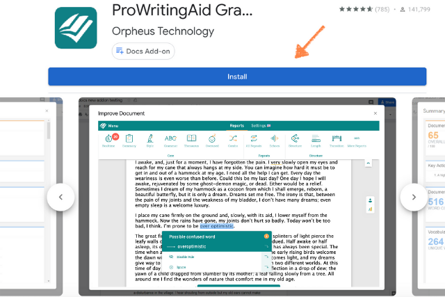 screen shot of google docs add on in store
