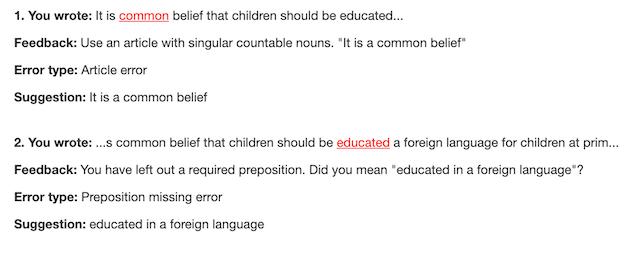 grammar suggestions in virtual writing tutor