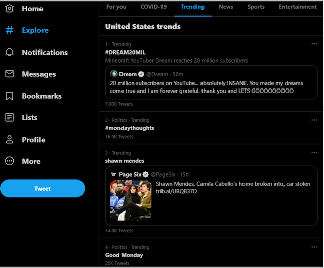 use twitter to identify current trends