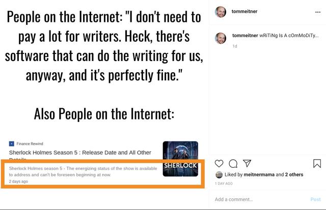 Writing App Failure instagram post