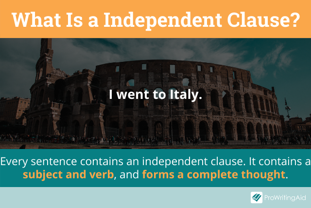 Image showing definition of independent clause