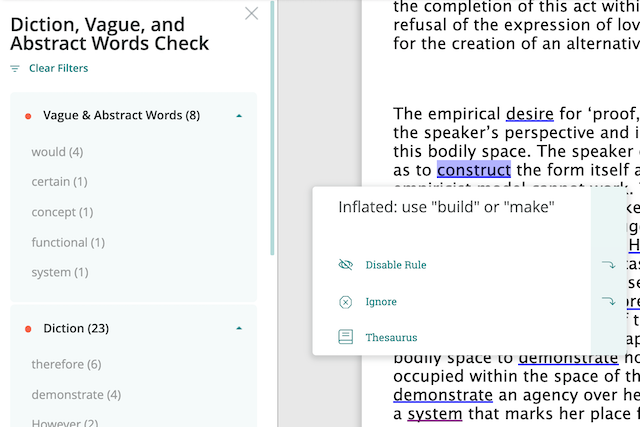 inflated language highlight: construct