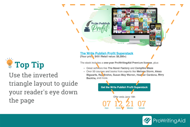 inverted triangle email design example