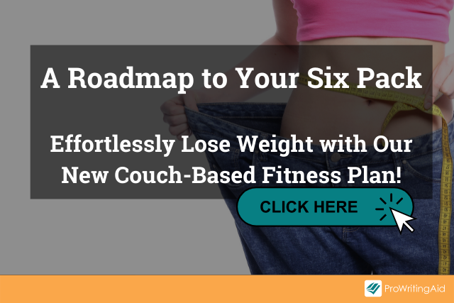 """Image of woman with tape measure and words """"A Roadmap to Your Six Pack.Effortlessly Lose Weight with Our New Couch-Based Fitness Plan!"""