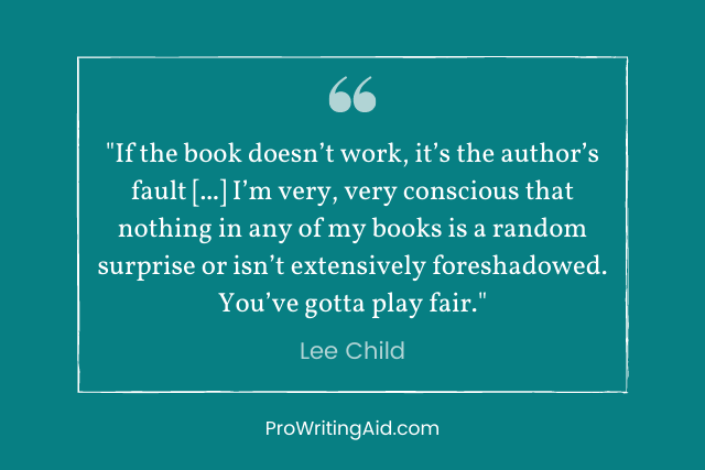 lee child foreshadowing quote