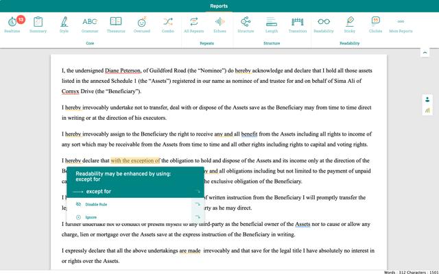 readability enhancement in a legal doc in prowritingaid