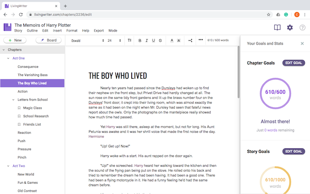 living writer writing interface