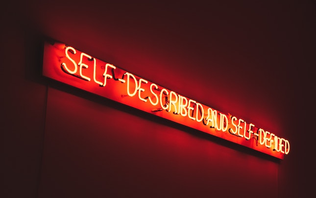 neon sign reading self-described and self-defined