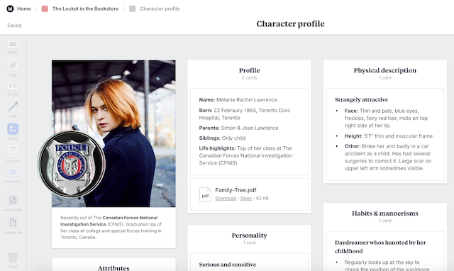 setting up a character profile in milanote