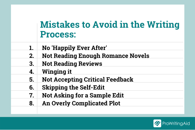Image showing 8 mistakes to avoid in the writing process