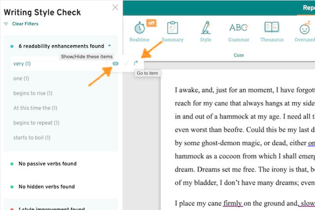 prowritingaid writing style check navigation menu showing and eye icon and an arrow icon