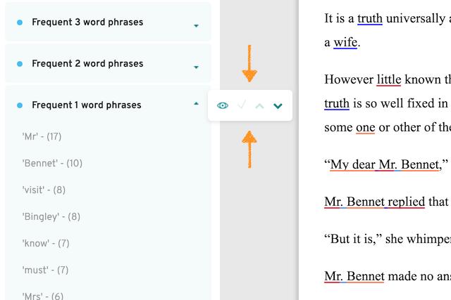 screenshot of repeats text menu