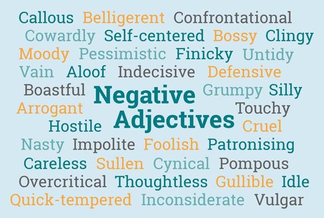 examples of negative personality trait adjectives