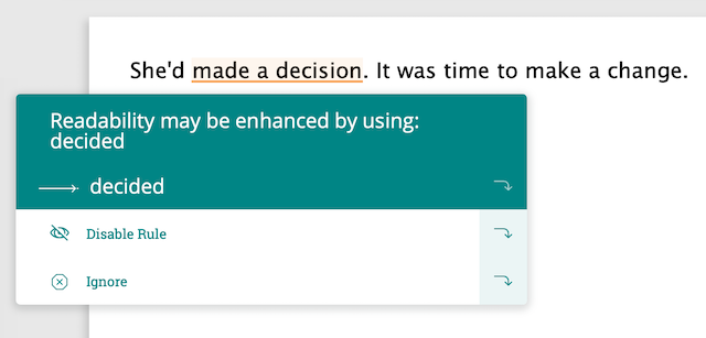 """made a decision, PWA suggests change to """"decided"""""""