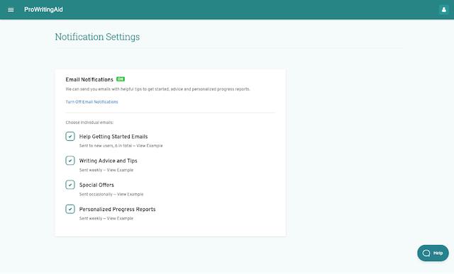screenshot of prowritingaid notification settings