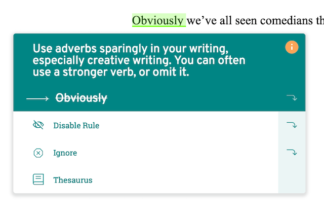 screenshot of prowritingaid suggesting to omit 'obviously'
